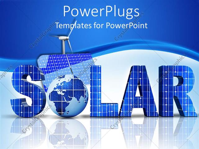 Powerpoint Template 3d Word Solar With Globe Instead Of Letter O