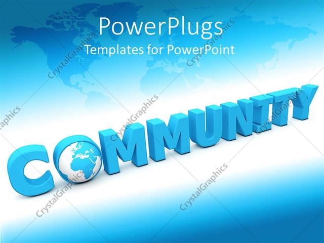 powerpoint template 3d word spells community with globe as letter o