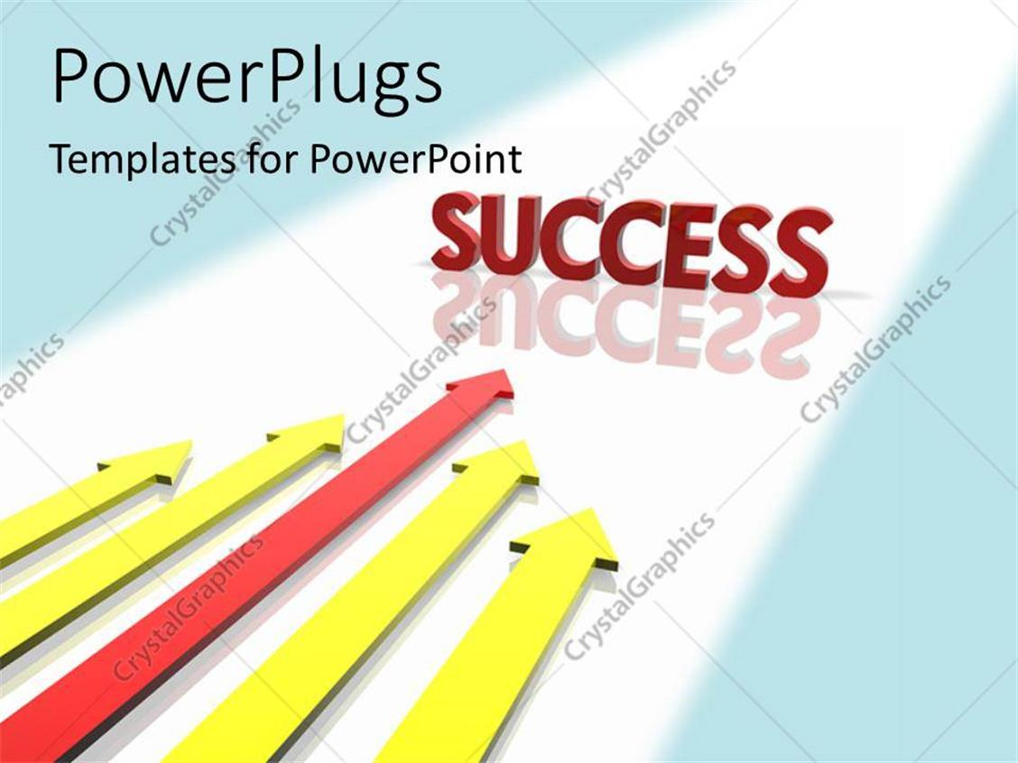 PowerPoint Template Displaying 3D Word SUCCESS with Reflection in Background and Colored Arrows