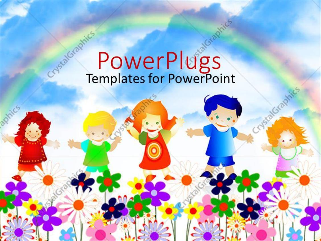 PowerPoint Template Displaying 5 Kids Playing Happily in a Garden Full of Flowers with a Rainbow in the Background