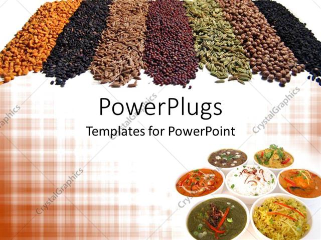 PowerPoint Template: 7 different Indian spices and dishes arranged ...
