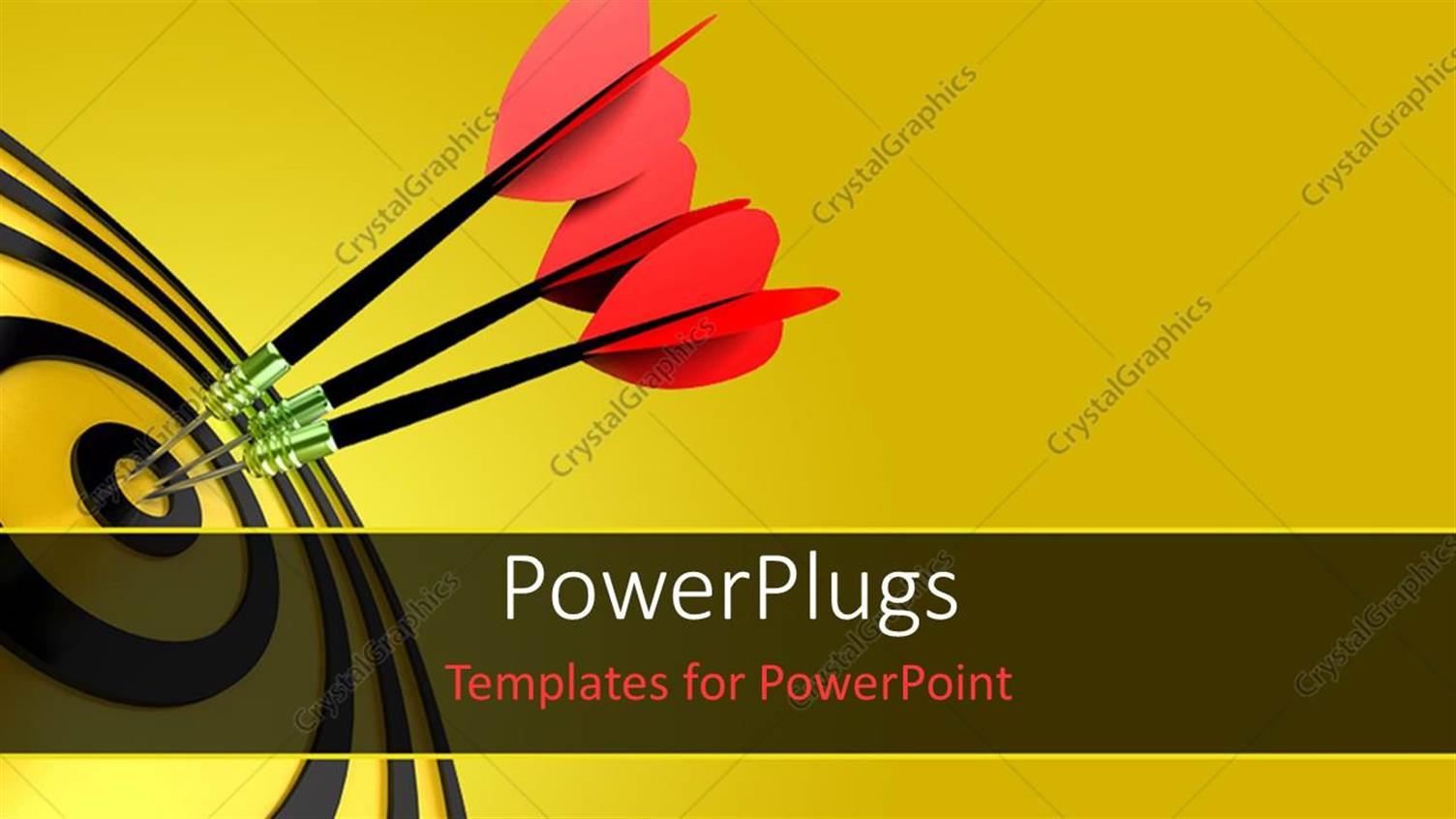 PowerPoint Template Displaying Three Pink Colored Darts Hitting the Middle of a Yellow and Black Colored Dart Board