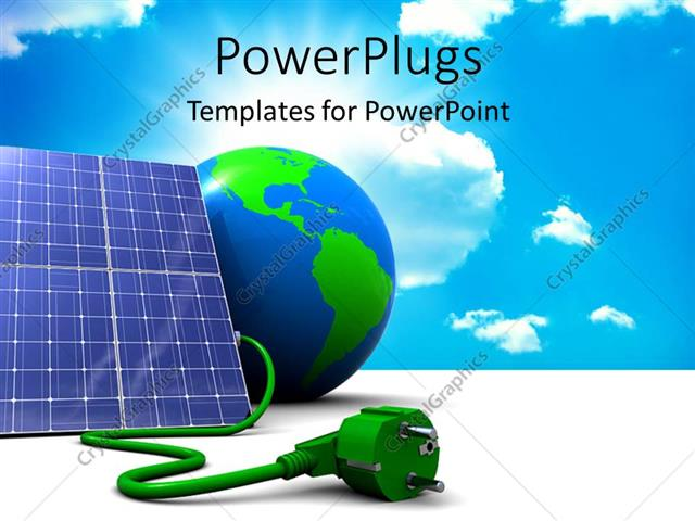 Powerpoint Template Abstract 3d Solar Panel With Earth Globe And