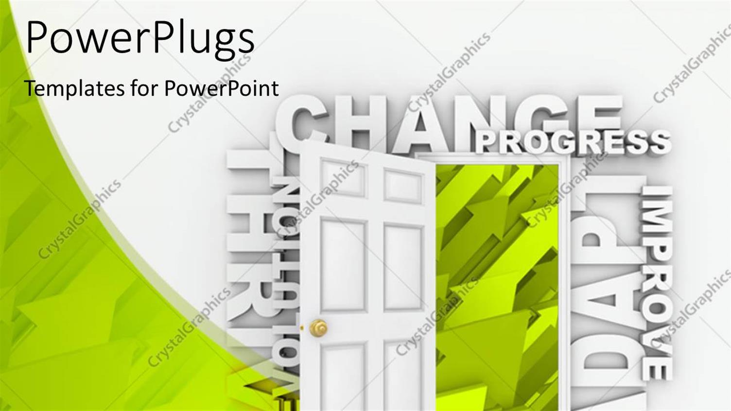 PowerPoint Template Displaying Abstract Background with Open Door to Growth, Progress, Change