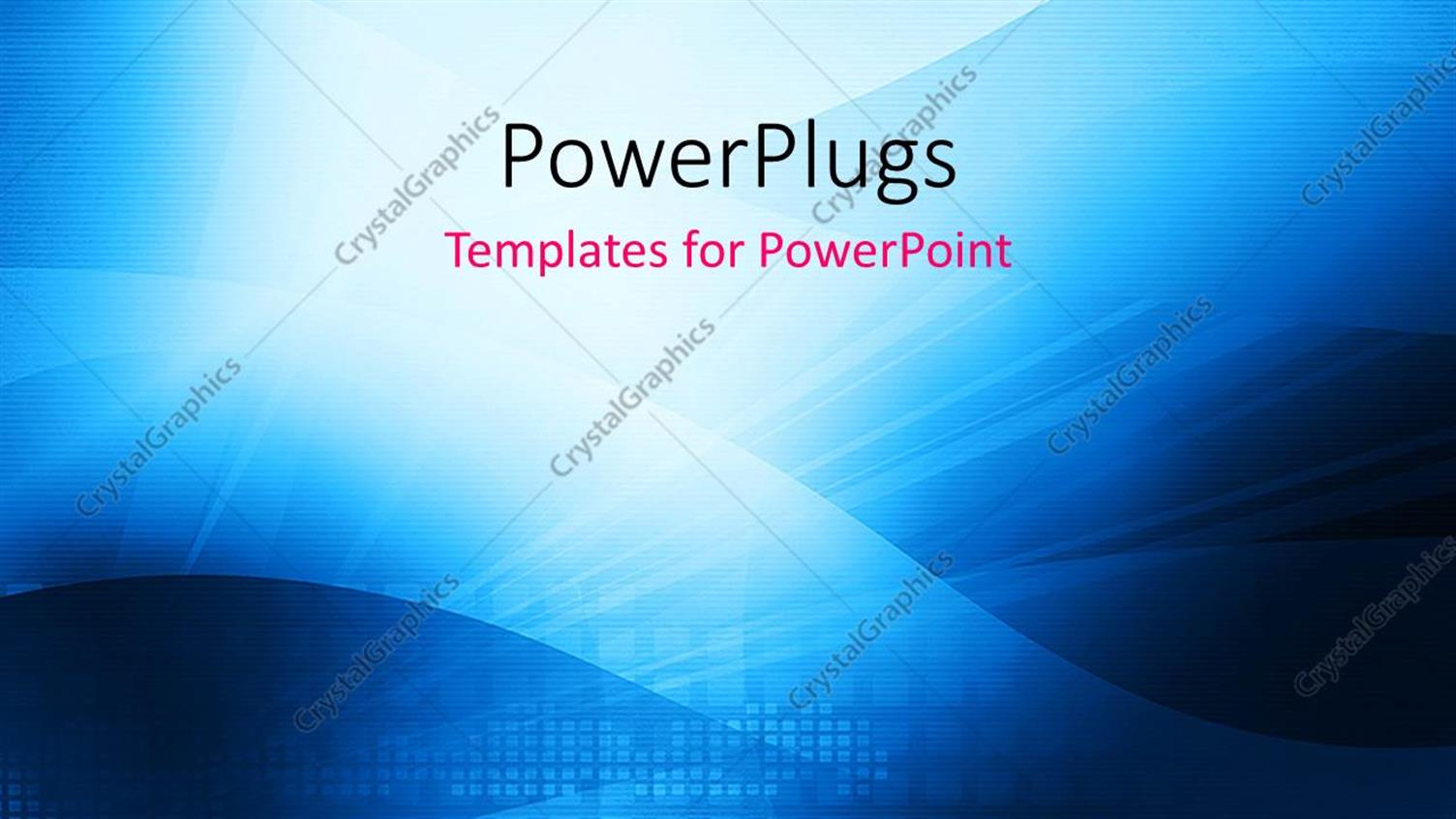 PowerPoint Template Displaying Abstract Blue Colored Technology Theme with Rays and Waves