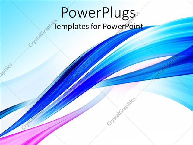PowerPoint Template: abstract blue wavy background with lines in