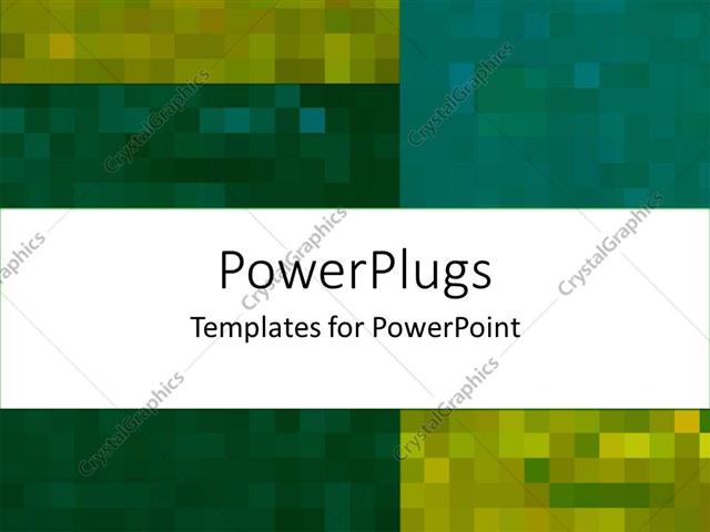 powerpoint template abstract collage of pixel colored yellow green