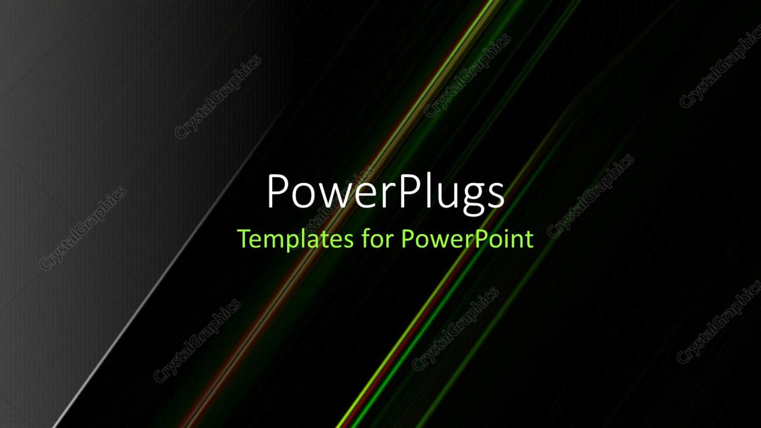 PowerPoint Template Displaying Abstract Color Glowing Lines in Dark Space with Stars and Light Effects