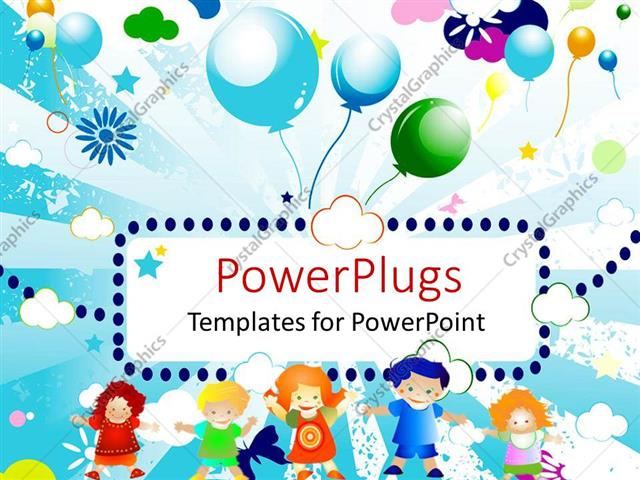 Powerpoint template abstract colorful design with kids and powerpoint template displaying abstract colorful design with kids and balloons in the sky toneelgroepblik Images