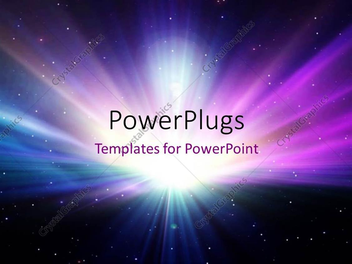 PowerPoint Template Displaying Abstract Colorful Galaxy Scene with Glowing Rays