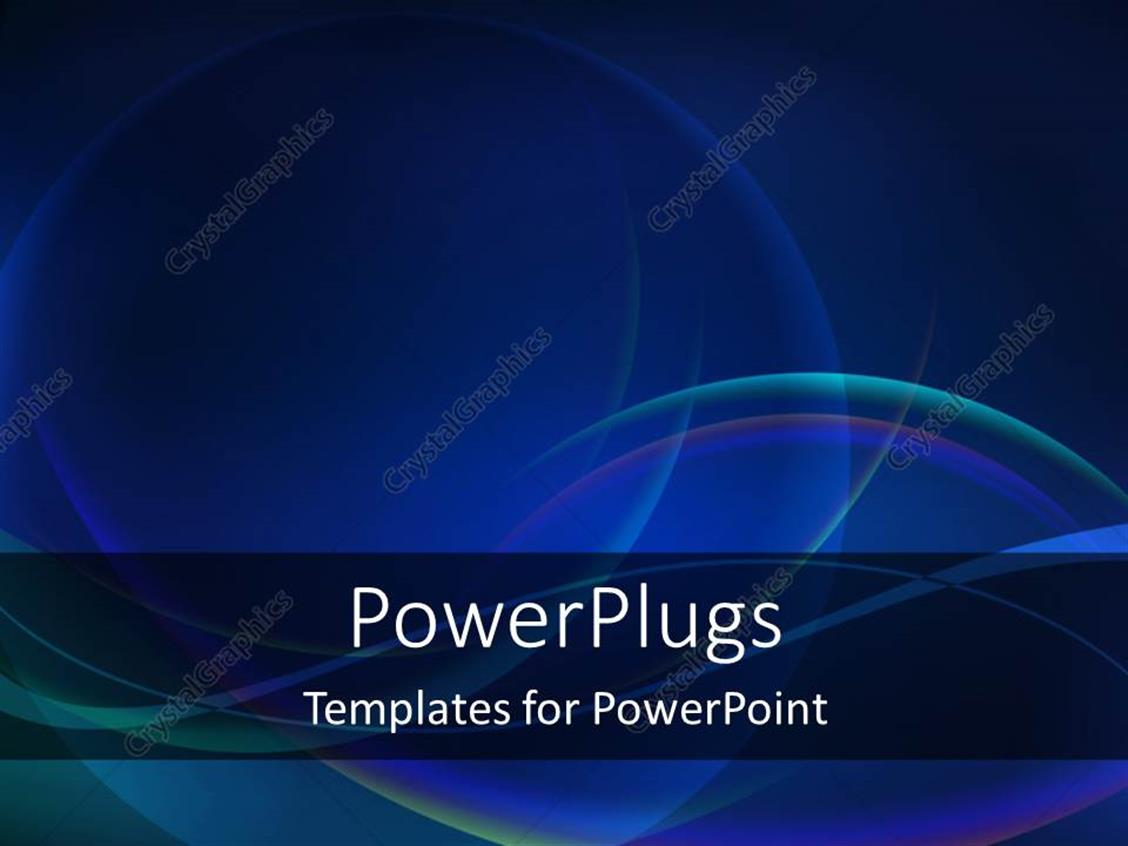 PowerPoint Template Displaying Abstract Curves on Dark Blue Background
