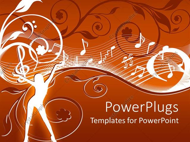 Powerpoint Template Abstract Depiction Of A Lady With Music Themes