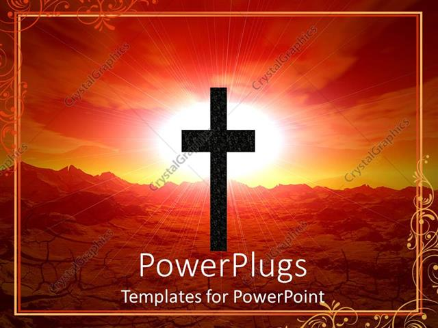 PowerPoint Template: Abstract Depiction Of A Large Cross