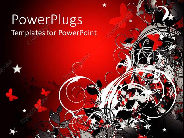 PowerPoint Template Displaying Abstract Design of Flowers and Butterflies in Red, White and Black on Red Background