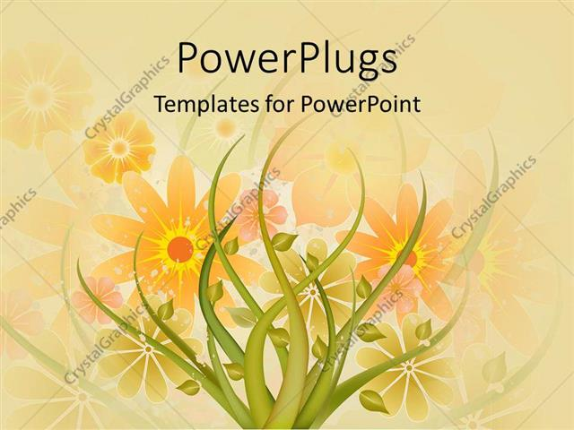 Powerpoint template abstract design of a plant with colorful powerpoint template displaying abstract design of a plant with colorful flowers at the background toneelgroepblik