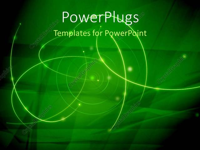 PowerPoint Template Displaying Abstract Galaxy Composition with Green Color