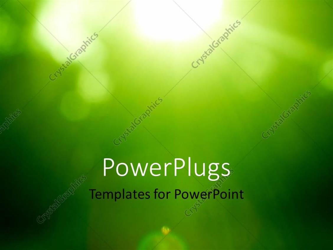 PowerPoint Template Displaying Abstract Green Forest Defocused with Sunbeam Rays