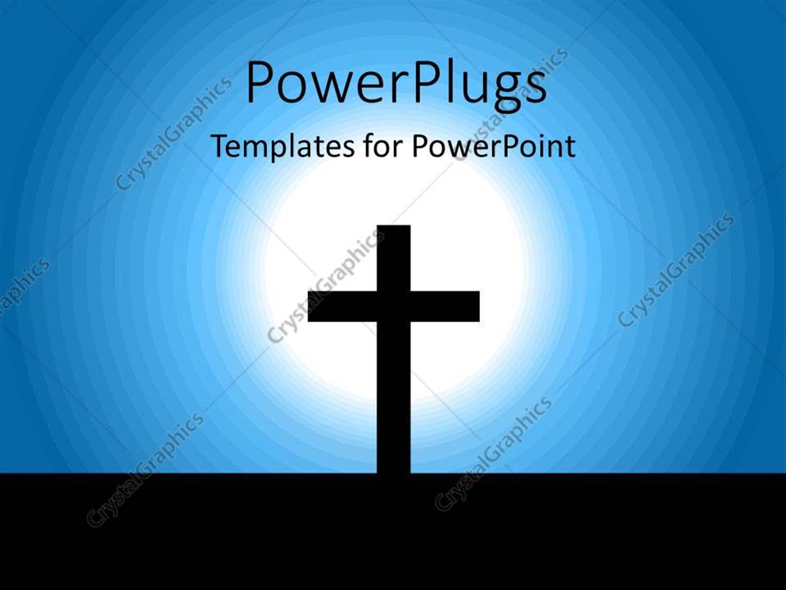 PowerPoint Template Displaying an Abstract of a Light Lit on a Cross