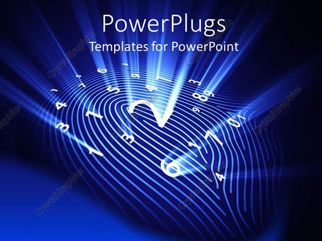PowerPoint Template Displaying Abstract Representation of Fingerprint with Glowing White Numbers and Lines on Blue Background