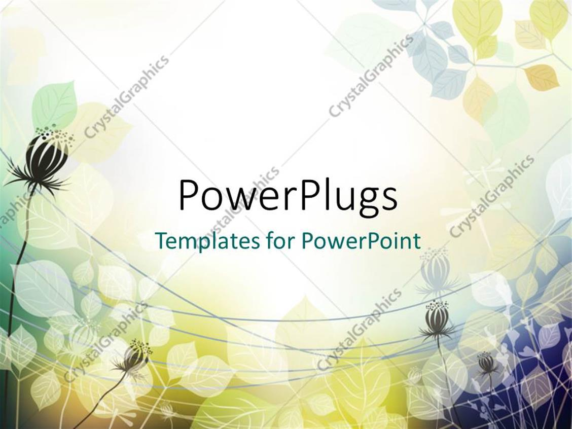 PowerPoint Template Displaying Abstract Vector Floral Shapes