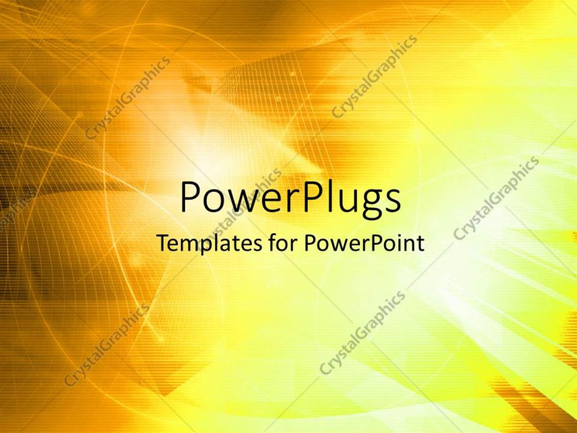 PowerPoint Template Displaying Abstract Wavy Lines on Lighted Yellow Background
