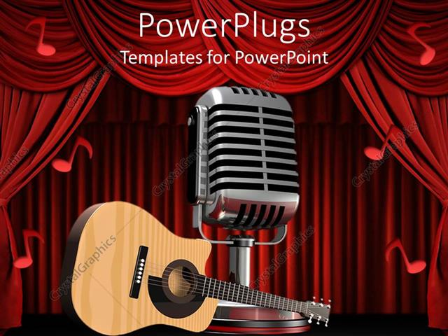 Powerpoint Template Acoustic Guitar On Theater Stage Next To Large