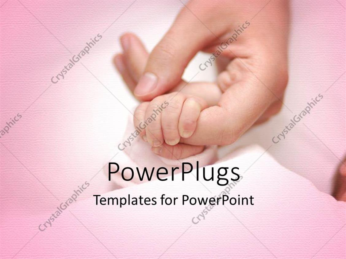 PowerPoint Template Displaying an Adult Female Hand Holding a Baby's Hand on a Pink Surface