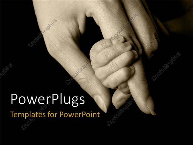 PowerPoint Template Displaying an Adult Female Hand Holding a Littile Babys Hand