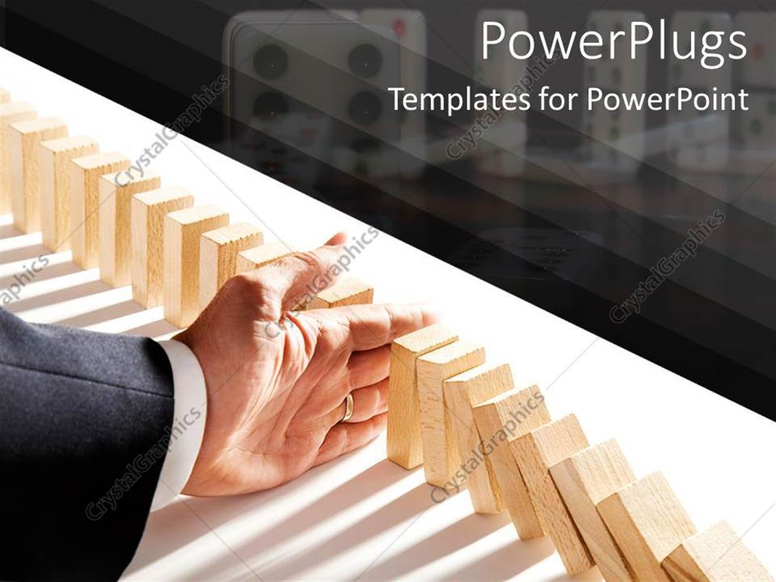 PowerPoint Template Displaying Adult Hand Falling a Row of Arranged Domino Tabs