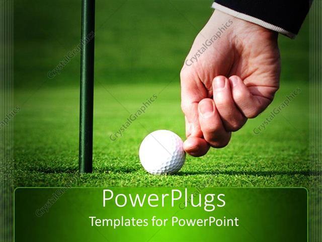 Powerpoint template adult hand pushing and cheating a golf ball to powerpoint template displaying adult hand pushing and cheating a golf ball to score toneelgroepblik Choice Image