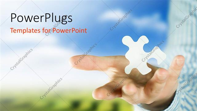 PowerPoint Template Displaying Adult Male Hands Holding a White Floating Puzzle Piece