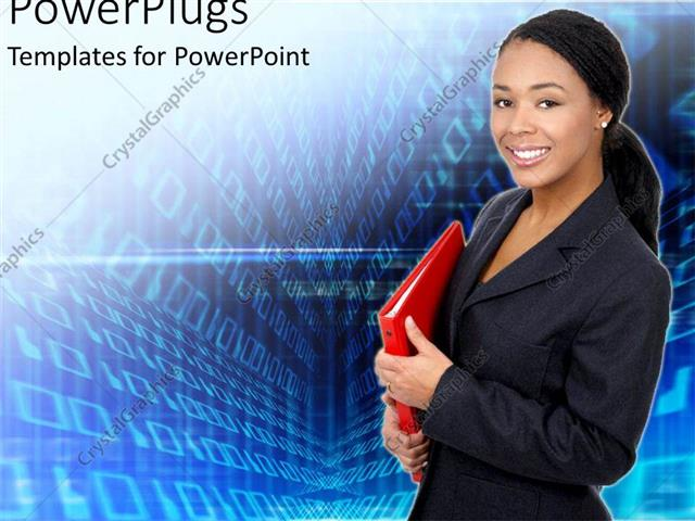 Powerpoint template african american business women with red powerpoint template displaying african american business women with red folder in hand looking happy toneelgroepblik