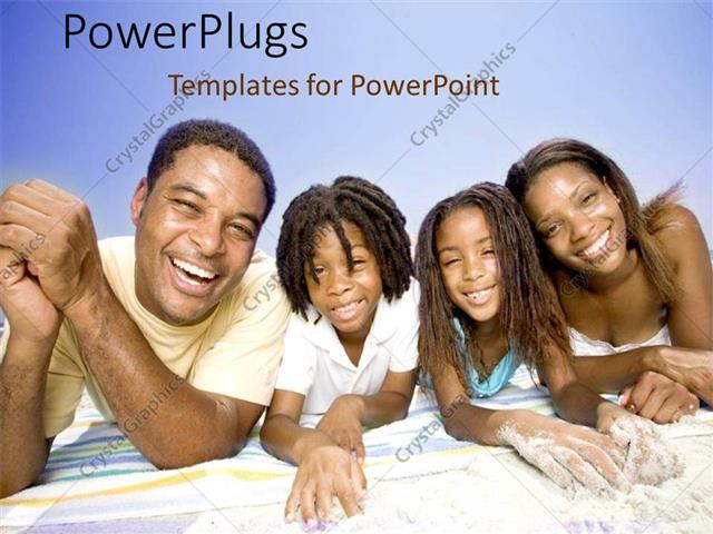 Powerpoint template african american family with father mother boy powerpoint template displaying african american family with father mother boy and girl laying on towel on toneelgroepblik Choice Image