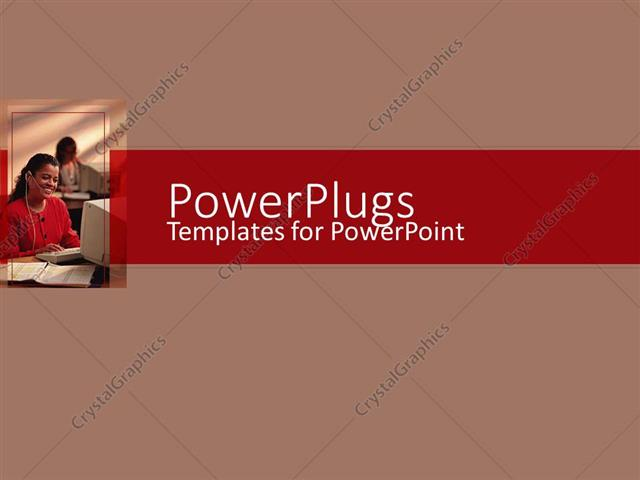 Powerpoint template an african american lady wearing a head set powerpoint template displaying an african american lady wearing a head set smiling in an office toneelgroepblik Images