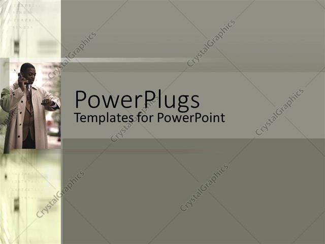 Powerpoint template an african american man receiving a phone call powerpoint template displaying an african american man receiving a phone call on an ash colored toneelgroepblik Choice Image