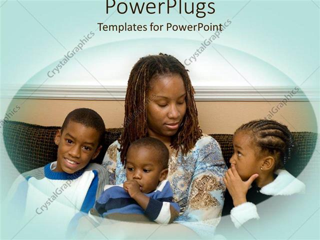 Powerpoint template african american mother with three kids powerpoint template displaying african american mother with three kids sitting on a couch toneelgroepblik