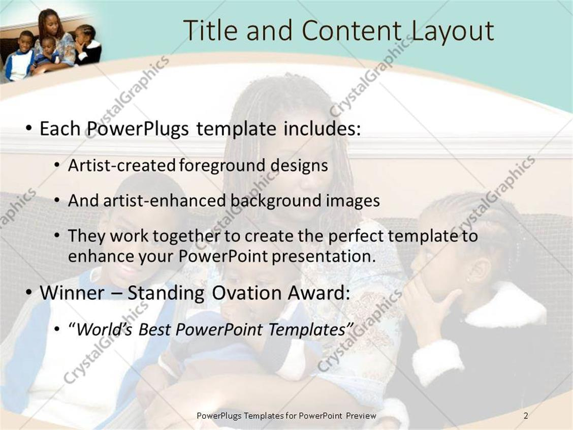 Powerpoint template african american mother with three kids sitting powerpoint products templates secure toneelgroepblik Choice Image
