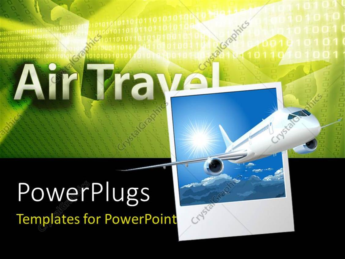PowerPoint Template Displaying an Airplane with Air Travel in the Background