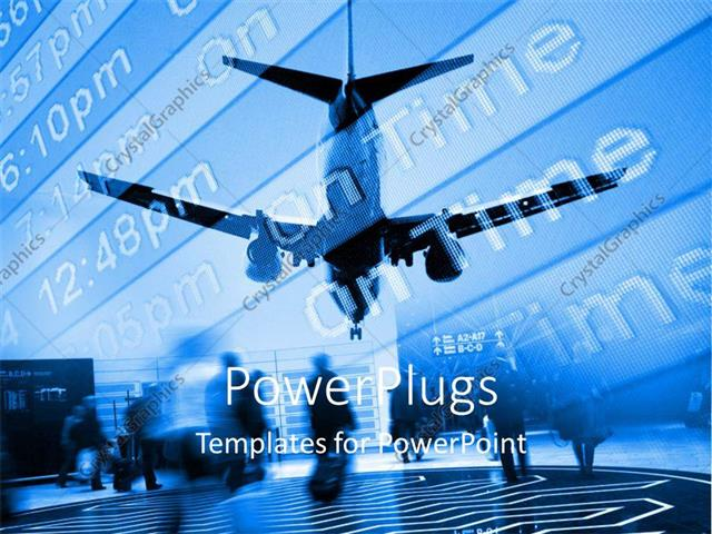 PowerPoint Template Displaying Airplane Approaching Airport with Arrival Board and Travellers with Suitcases