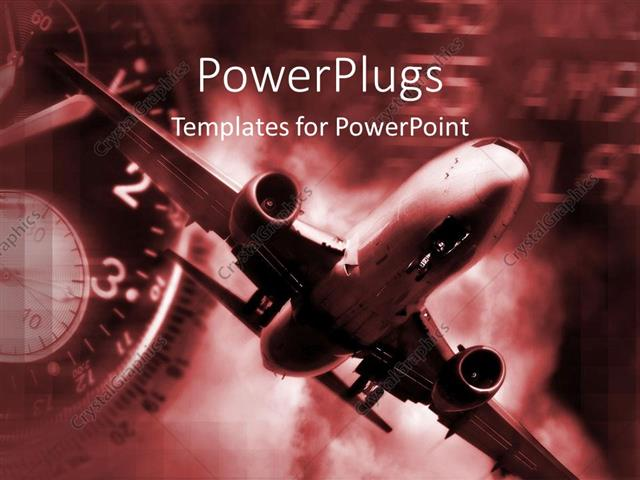 Powerpoint Template Airplane And Clock In Red And Black Air Travel