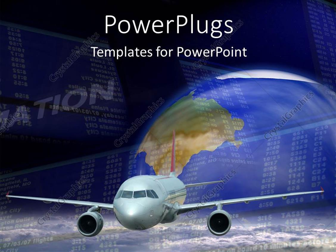 PowerPoint Template Displaying an Airplane with a Globe in the Background