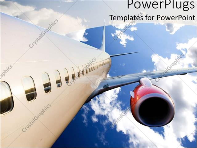 Powerpoint Template Airplane With Red Engine Flying In Blue Cloudy