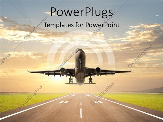 Powerpoint template an airplane just taking off on an aiport powerpoint template displaying an airplane just taking off on an aiport runway toneelgroepblik Gallery