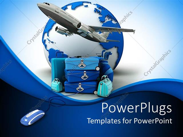 PowerPoint Template Displaying Airplane Taking off a Pile of Luggage Beside Earth and Computer Mouse