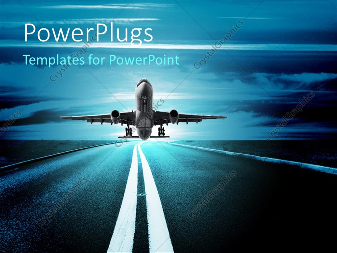 PowerPoint Template Displaying Airplane Taking off on the Runway with Beautiful Blue Sky in the Background