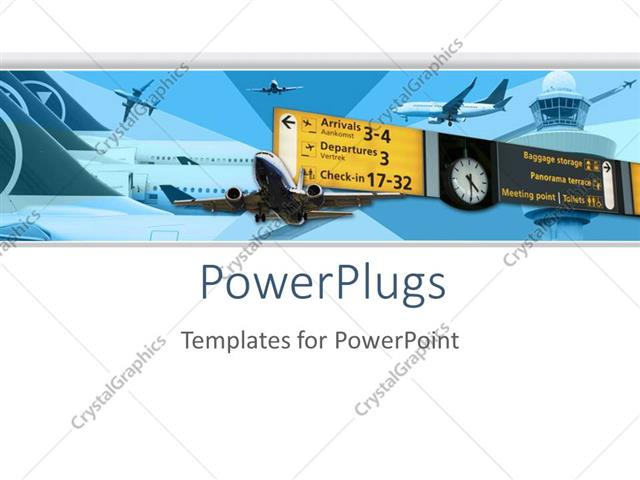 Powerpoint Template Airport Airplane Transportation Theme With