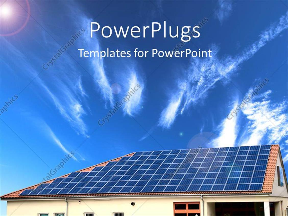 powerpoint template alternative energy solar panel with sky in the background 26760. Black Bedroom Furniture Sets. Home Design Ideas