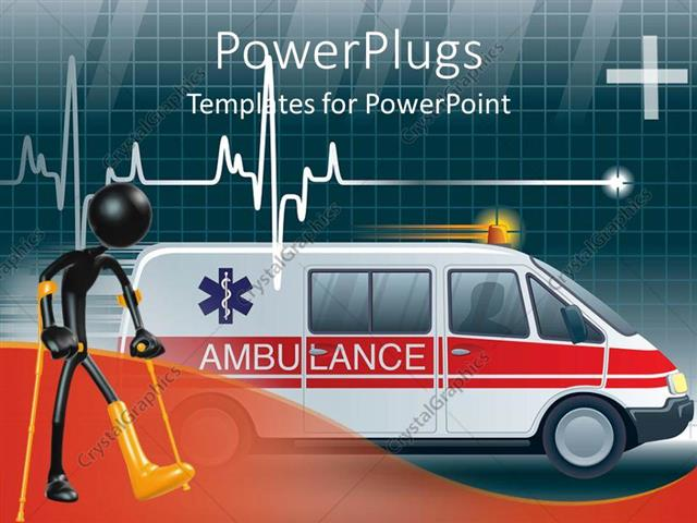 PowerPoint Template: an ambulance with a heartbeat line and boxes in ...