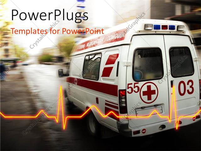 PowerPoint Template: an ambulance with a heartbeat line and place ...