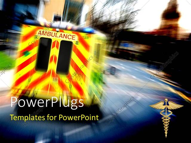 PowerPoint Template: an ambulance on the road with blurred ...